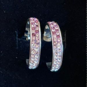 Sparkly gradient crystal hoops